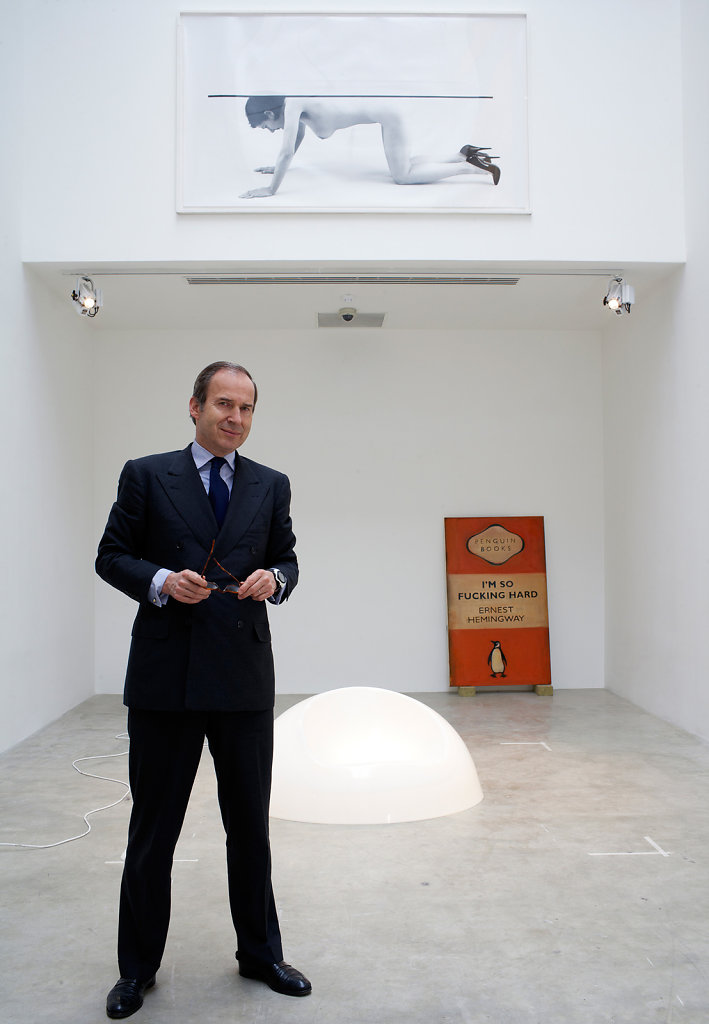 Simon de Pury, Art Dealer - Art: 'I'm So Fucking Hard, Earnest Hemingway, Harland Miller 2003; 'Table 2', Jemima Stehli 1997-1998